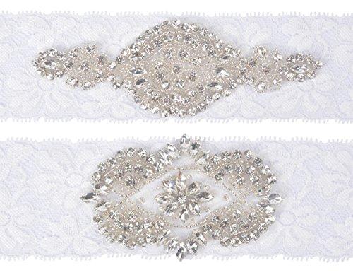 Wishprom Wedding Bridal Lace Garter Set Keepsake Toss Tradition Vintage Rhinestones Garter Belt Set, Ivory