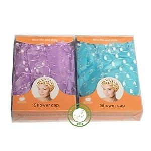 2 bonnets de douche violet ou bleu floral cotton/soie