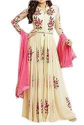Sanjana Design Women's Georgette western cream gown ( KS7288_Free Size_Cream)