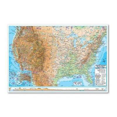 Universal Map 29177 Advanced Physical World Paper - Rolled Map (Topographical World Map compare prices)