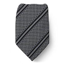 W-10147 - Gray - Black - Mens Silk Fashion Neck Tie