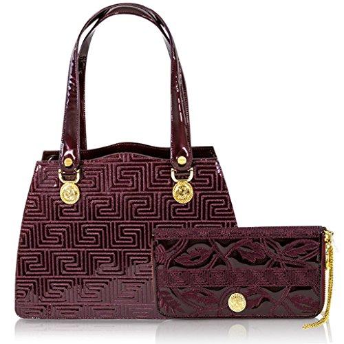 cc2223d75402 Valentino Orlandi Italian Designer Burgundy Greek Key Leather ...