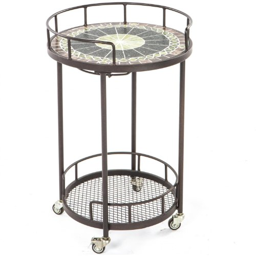Alfresco Home 21-1313 Ponte Indoor Outdoor Marble Mosaic Serving Cart