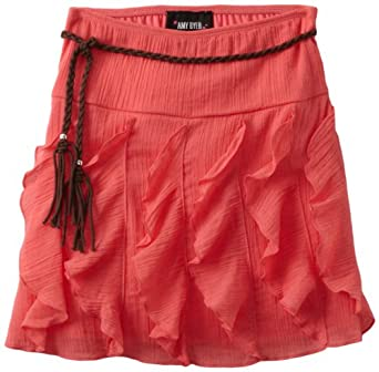 Amy Byer Big Girls' Gauze Ruffle Skirt, Coral, Small