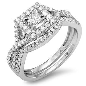 1.00 Carat (ctw) 14k White Gold Princess & Round Diamond Twist Ladies Bridal Halo Set Ring Engagement Set 1 CT (Size 6)