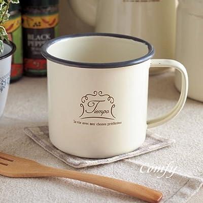 キッチン雑貨 ホーロー マグカップ Tiempo クリーム 北欧カントリー おしゃれでかわいい 人気のアンティーク調 (クリーム)