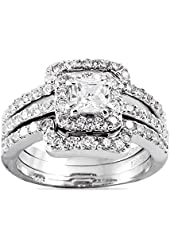 Princess Cut Center Stone CZ Sterling Silver Triple Band Engagement Ring & Wedding Band