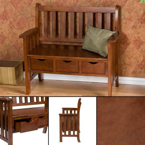 Southern Enterprises, Inc 3-Drawer Oak Country Bench