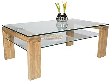 Table basse en bois et verre trempé coloris chêne sauvage - Dim : 100 x 60 x 38 cm -PEGANE-