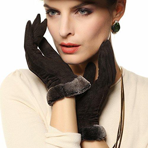 Женские перчатки из искусственной замши