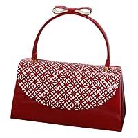 (フッサ) fussa振袖バッグ 赤×白 リボン飾り付き 和装バッグ クリスタルパンチングバッグ 赤