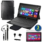 BIRUGEAR Black 2-in-1 Leather Keyboard Portfolio Stand Case Cover plus 3pcs Stylus