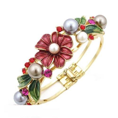 Red Bracelets authentic Korea fresh flower bling Joker women bangle bracelet 3 colors