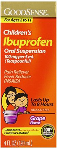 GoodSense Children's Ibuprofen Pain Reliever/Fever Reducer Oral Suspension, Grape, 4 Fluid Ounce