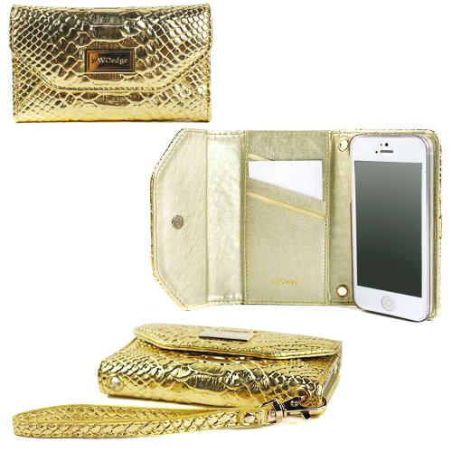 Great Sale JAVOedge Croc Clutch Wallet Case with Wristlet for the Apple iPhone 5s, iPhone 5 (Gold)