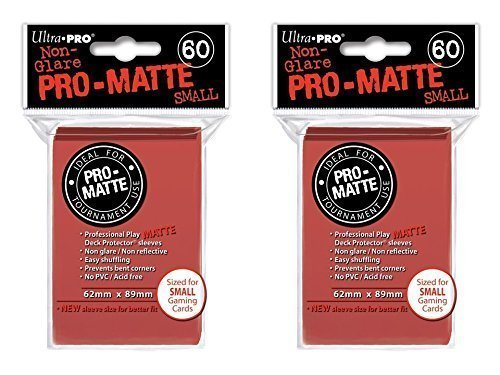 120 Ultra Pro Red SMALL PRO-MATTE Deck Protectors Sleeves Colors Yugioh Vanguard [2 Packs of 60]