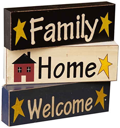 Your Hearts Delight Welcome Home Family Wooden Blocks, 5-5/8 by 1-3/4 by-3/4-Inch