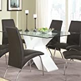 Ophelia Contemporary Glass Top Dining Table with White X Pedestal