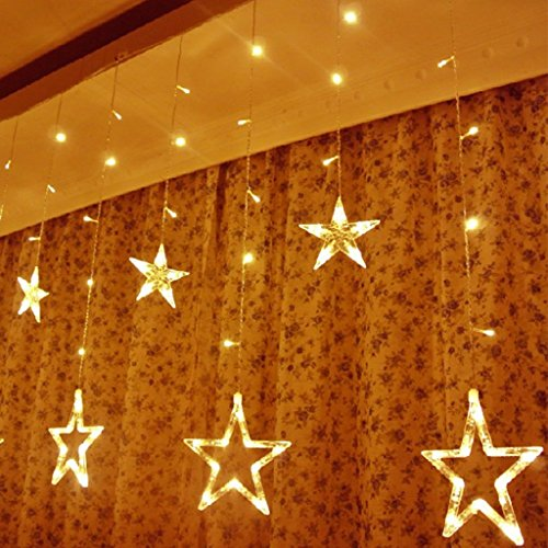[Excelvan 138 LEDs 2m/6.6ft Star Curtain String Light( 6 Big 6 Small),8 Flashing Modes with memory,Waterproof,Used for Wedding,Christmas,Parties,Wedding,Festival Decorations (Warm] (Big Party Decorations)
