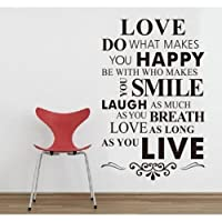 DIY Happy Live Laugh Love Smile Inspirational Quote Wall Paper Art Vinyl Decal Sticker by Other