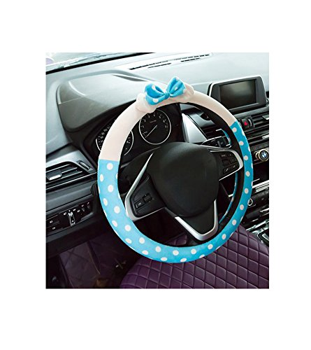 Cute Winter Advanced Blue Dot Bow Car Steering Wheel Cover Wrap Car Interior Trim (Steering Wheel Car Alarm compare prices)