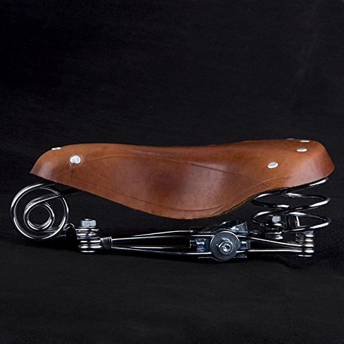 Aukmont Vintage Classic Genuine leather Bicycle Seat with springs Leather Brown MTB Bike 2
