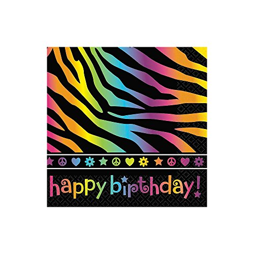 Neon Birthday Beverage Napkins