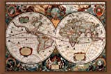 17th Century World Map Poster Print