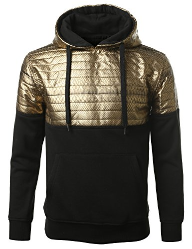 Urbancrews Mens Hipster Hip Hop Pu Fleece Pullover Hoodie Gold Large