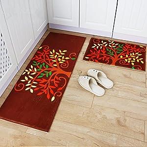 Ustide 3 Piece Kitchen Rug Set Kitchen Memory Foam Rug Soft Rug Coral Fleece Door