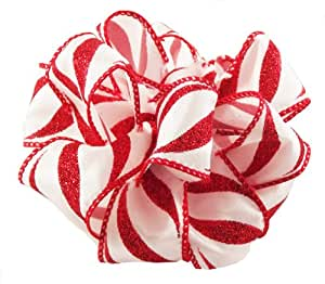 "Offray Torte Holiday Wired Edge Ribbon, 1 1/2"" Wide, 25 Yards, Red Glitter & White Candy Cane Stripe"