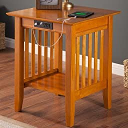 Atlantic Furniture AH10237 Mission Printer Stand With Charger44; Caramel Latte