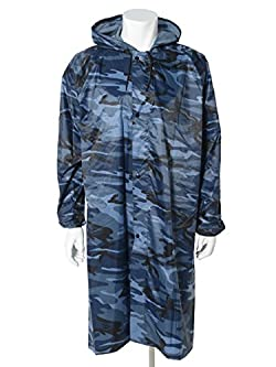 MerMonde(メルモンド) レインコート 男女共用 フリーサイズ (迷彩・ブルー)
