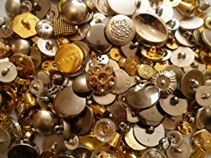 Mixed Gold & Silver Buttons Assorted Shapes Sizes Art Craft Sewing Card Scrapbook Make from FashionLDN