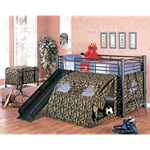 Coaster Kid GI Child Bunk Bed with Slide and Tent Twin Size