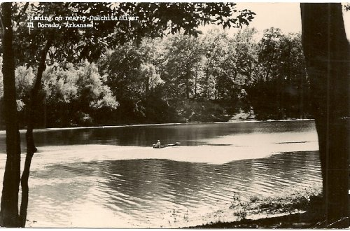 1940S Vintage Postcard - Fishing On The Ouachita River - El Dorado Arkansas