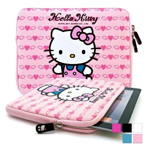 Hülle für Prestigio MultiPad 2 Prime Duo 8.0, Pro Duo 8.0 3G Tablet mit Hello Kitty Motiv in Hellpink (Neopren, Wasserdicht, Dual YKK Reißverschlüsse, mit weichem Plüsch Innenfutter)
