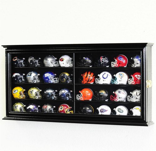 32 Pocket Pro mini Helmet Display Case Cabinet Holders Rack w/ UV Protection, Black (Nfl Mini Football Display Case compare prices)
