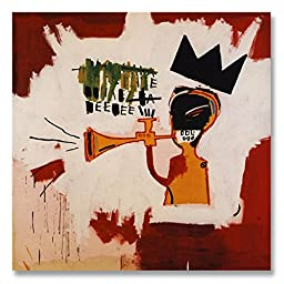 Jean-Michel Basquiat Original Graffiti Art Philistines 1982 Hand-painted Reproduction Oil Painting on Rolled Canvas for Living Room Wall Decor - 48X28 inch