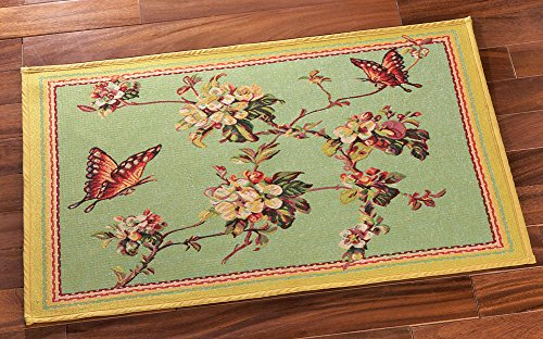 Collections Etc Floral Butterfly Tapestry Floor Rug