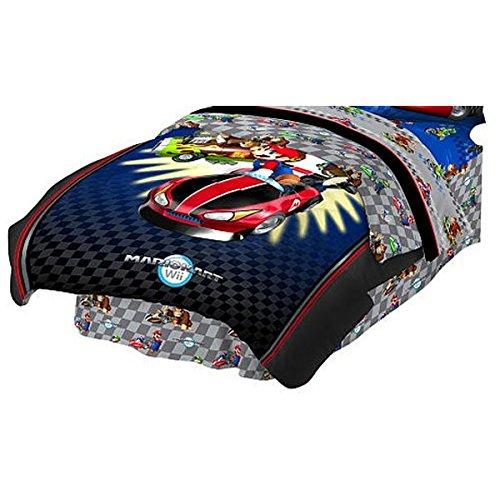 2pc Mario Kart Wii Twin Comforter Pillow Sham Set Nintendo Racing Full Speed Bedding