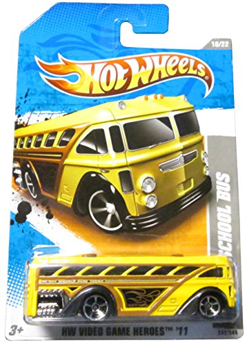 "Hot Wheels 2011 '' SURFIN' SCHOOL BUS"" HW VIDEO GAME HEROES '11 - 10 of 22 - 232/244 Yellow Bus with 'Hot Wheels Surf Tours"" decal on side"