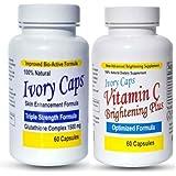 Ivory Caps Skin Whitening Lightening 1500mg Glutathione Support Pill + Vitamin C Brightening Plus