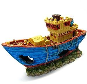 Fishing boat 10 8 ancient ship aquarium for Fish tank decorations amazon