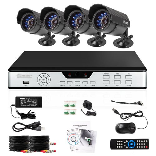 Cheapest Price! Zmodo PKD-DK4216-500GB H.264 Internet & 3G Phone Accessible 4-Channel DVR with 4 Nig...