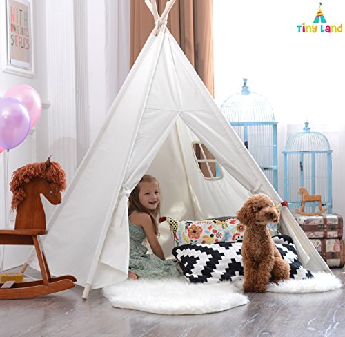 Purchase White Canvas Play Teepee tent for kids 100% Cotton By Tiny Land - Colorful Decorations Incl...