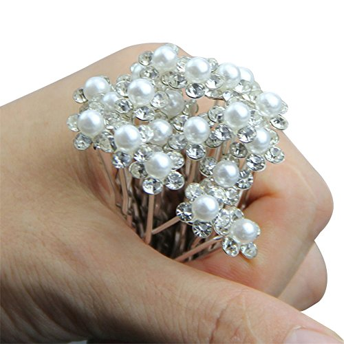 Outop 20pcs Wedding Bridal Pearl Flower Crystal Hair Pins Clips Bridesmaid HOT