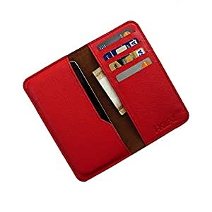 DooDa Genuine Leather Wallet Flip Pouch Case For iPhone 6 / 6S (RED)