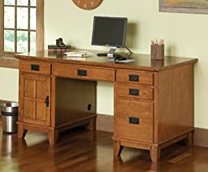 Remarkable Home Style 5180 18 Arts And Crafts Double Pedestal Desk Download Free Architecture Designs Jebrpmadebymaigaardcom