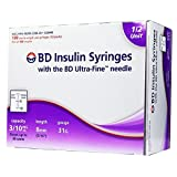 BD Ultrafine II U-100 Insulin Syringe 31 Gauge 3/10cc 5/16 inch Short Needle-1/2 Unit Markings 100/box (328440) (Tamaño: 1 [90])